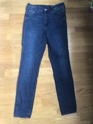 H&M Hoge taille jeans donkerblauw-blauw