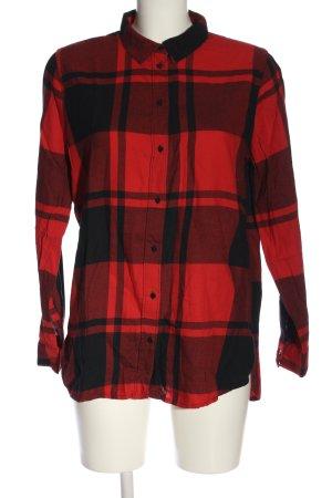 H&M Holzfällerhemd schwarz-rot Allover-Druck Casual-Look