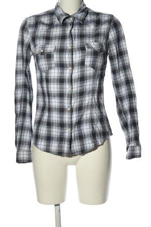 H&M Holzfällerhemd weiß-schwarz Allover-Druck Casual-Look