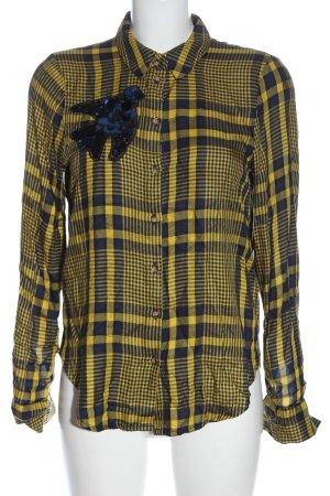 H&M Koszula w kratę bladożółty-niebieski Na całej powierzchni Elegancki