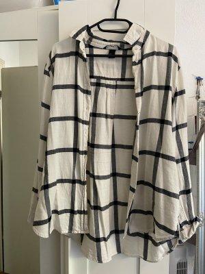 H&M Camisa de leñador negro-blanco