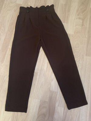 H&M Spodnie z wysokim stanem ciemnobrązowy Poliester