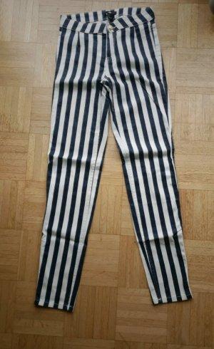 H&M Pantalone a vita alta bianco-blu scuro