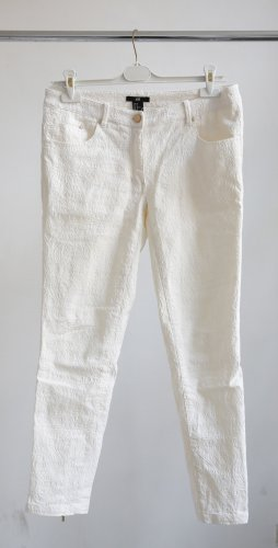 H&M Peg Top Trousers natural white-gold-colored cotton