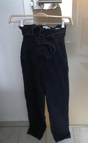 H&M Pantalon taille haute gris foncé