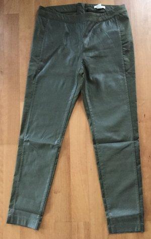 H&M Hose Gr. 44 Khaki vorne Kunstleder Sehr guter Zustand