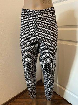 H&M Pantalone boyfriend nero-bianco Poliestere