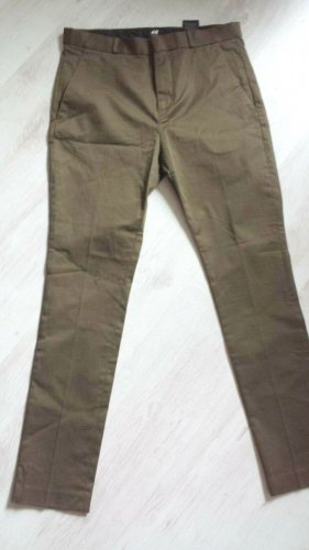 H&M Drainpipe Trousers green grey cotton
