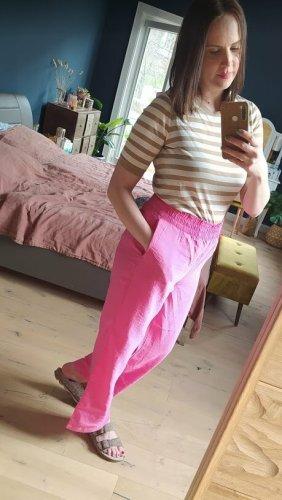 H&M Hose weite Hose pink Highwaist