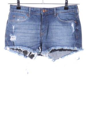 H&M Hot Pants blau Street-Fashion-Look