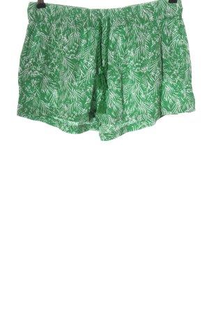 H&M Hot Pants grün-weiß abstraktes Muster Casual-Look