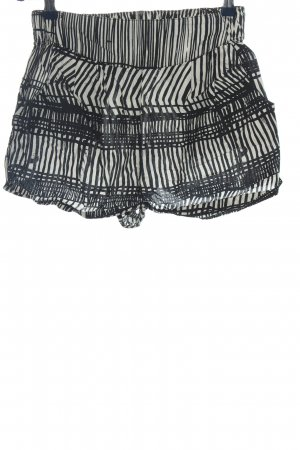 H&M Pantalón corto blanco-negro estampado repetido sobre toda la superficie