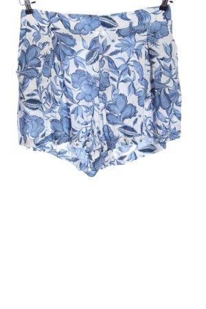 H&M Hot Pants weiß-blau Allover-Druck Casual-Look