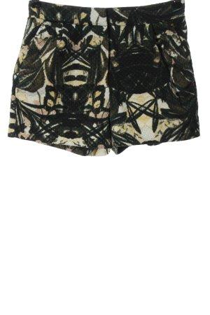 H&M Krótkie szorty czarny-bladożółty Abstrakcyjny wzór Elegancki