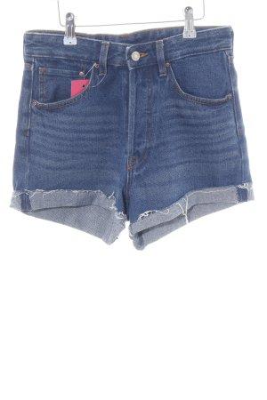 H&M Hot Pants blau-wollweiß Casual-Look