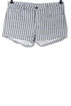 H&M Short moulant gris clair-blanc motif rayé style décontracté