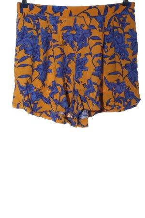 H&M Short moulant orange clair-bleu motif de fleur style décontracté