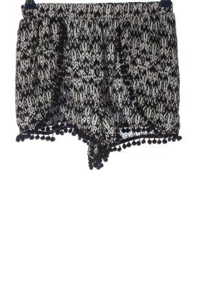 H&M Pantalón corto negro-blanco estampado repetido sobre toda la superficie