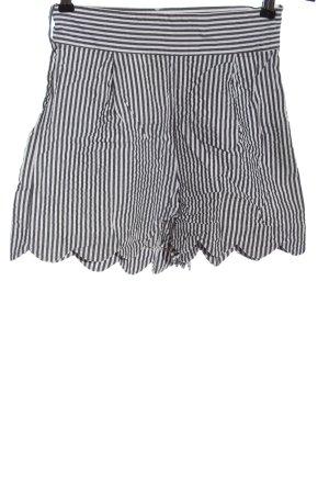 H&M Krótkie szorty biały-czarny Wzór w paski W stylu casual
