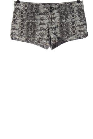 H&M Hot Pants hellgrau-schwarz Allover-Druck Casual-Look
