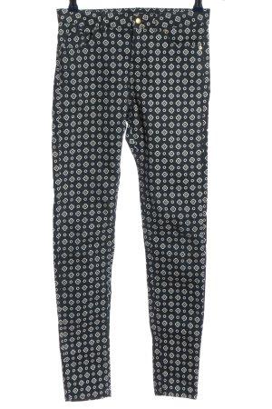 H&M pantalón de cintura baja negro-blanco look casual