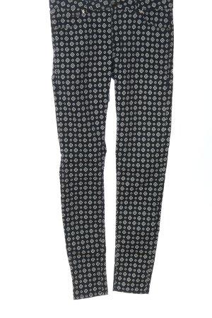 H&M Lage taille broek zwart-wit volledige print casual uitstraling