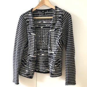 H&M Jacke Gr XS schwarz weiß Strick Blazer Ethno Vintage