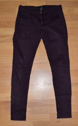 H&M jeans, Bordeaux, weinrot, Gr. 38, Röhrenjeans