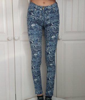 H&m Jeans Hose Röhrenhose Röhren weiß Blau Blumen Röhrenjeans 34 XS Anzughose Breite Jeans