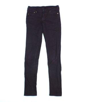 H&M Jeans Hose Skinny Damen dunkel lila Stretch W 26 L 32