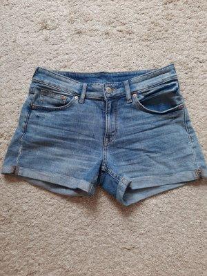 H&M Short en jean bleu acier coton