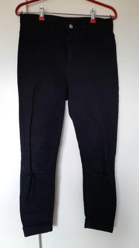 H&M Jeans Used Look mit Löchern High Waist schwarz Gr. 38