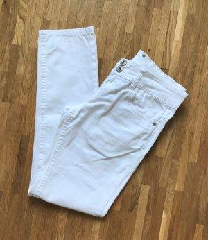 H&M Jeans Weiß XS 34 Slim Fit Skinny Hose Röhrenhose Chino Low Waist Ankle Denim