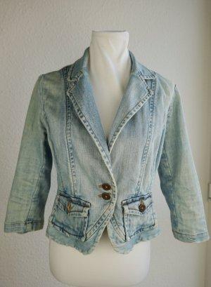H&M Marynarka jeansowa chabrowy Bawełna