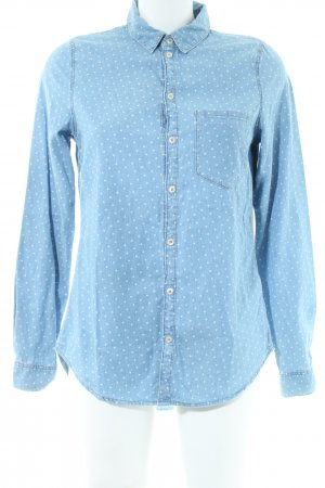 H&M Jeansbluse blau-weiß Punktemuster Casual-Look