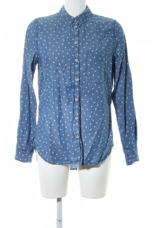 H&M Jeansbluse blau Allover-Druck Casual-Look