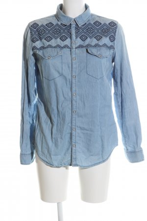 H&M Jeansbluse blau grafisches Muster Casual-Look