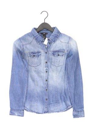 H&M Jeansbluse Größe 36 Langarm blau aus Baumwolle