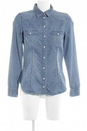 H&M Jeansbluse stahlblau Punktemuster Casual-Look