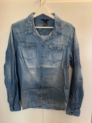 H&M Premium Denim Shirt blue-slate-gray