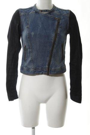 H&M Jeansjacke blau-anthrazit Biker-Look