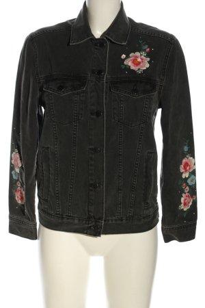 H&M Jeansjacke schwarz-pink Blumenmuster Casual-Look