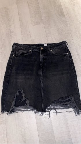 H&M Gonna di jeans nero-grigio