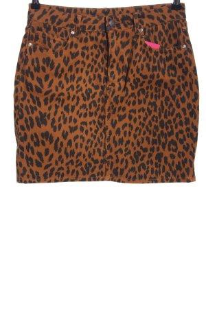 H&M Jeansrock braun-schwarz Animalmuster Casual-Look