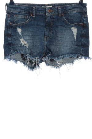 H&M Pantalón corto de tela vaquera azul look casual