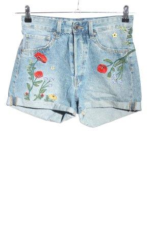 H&M Jeansshorts blau Blumenmuster Casual-Look
