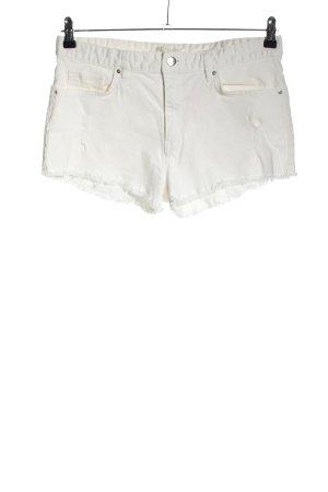 H&M Pantalón corto de tela vaquera blanco look casual