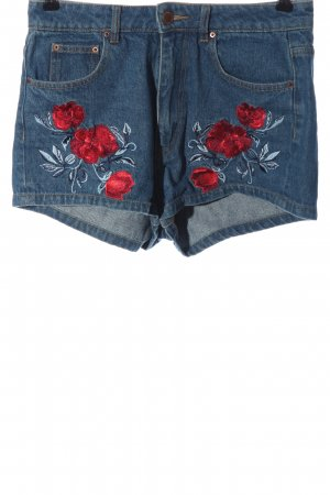 H&M Jeansshorts blau-rot Blumenmuster Casual-Look