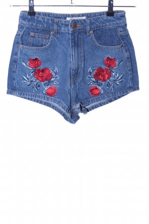 H&M Jeansshorts blau rot Blumenmuster Casual Look