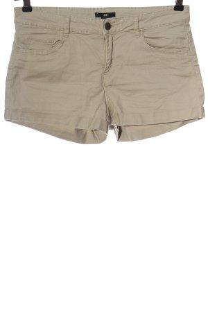 H&M Pantalón corto de tela vaquera crema estampado a rayas look casual